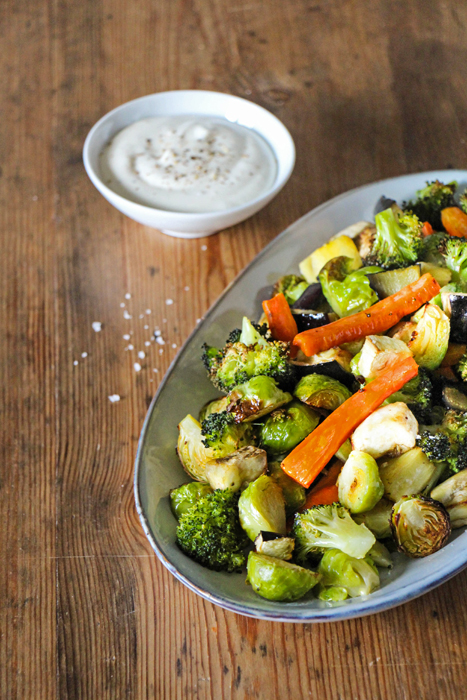 Winter-Ofengemüse mit veganer Aioli