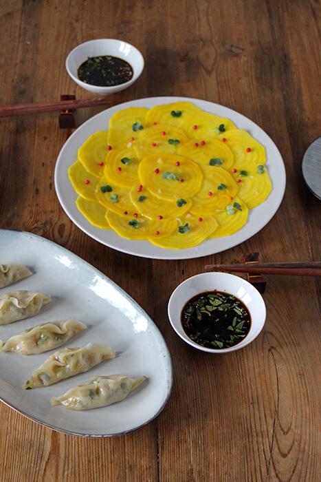 Vegetarische Gyoza (gefüllte und gedämpfte Teigtaschen)
