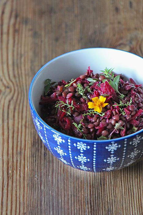 Salat mit Linsen und Rote Bete