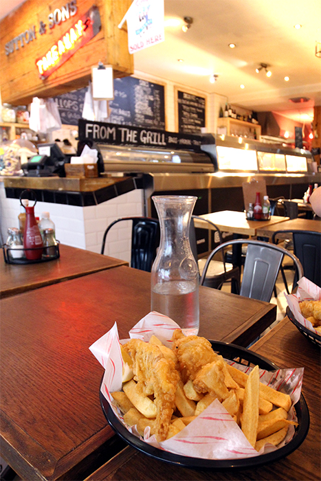 Vegane Fish & Chips in Hackney, London bei Sutton & Sons