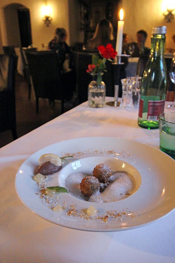 Nachtisch beim Dinner auf Schloss Mittersill