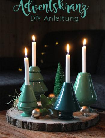 Adventskranz DIY mit Baumscheiben, Kerzenhaltern von Kähler und Eukalyptus