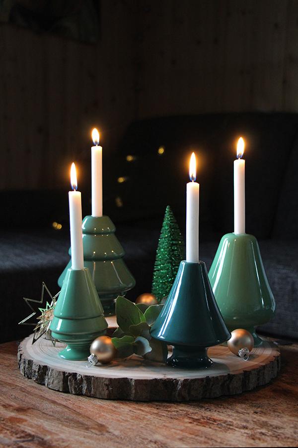 Holzscheiben Adventskranz DIY mit Kähler Design Kerzenhaltern