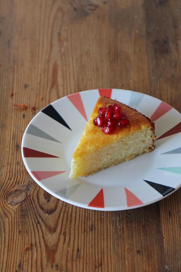 Rezept für Milchreiskuchen mit Granatapfel