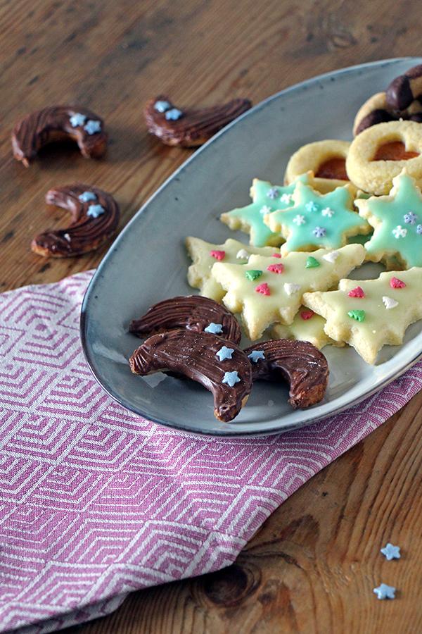 Rezept Plätzchen für Weihnachten: Marzipan-Halbmonde mit Nougat