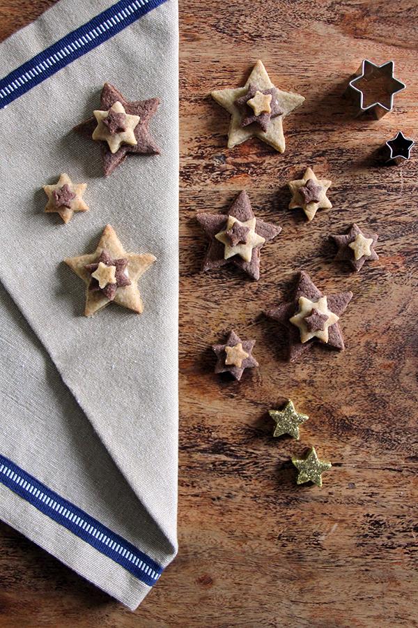 Terrassenplätzchen - Sterne mit Weihnachtsgewürzen