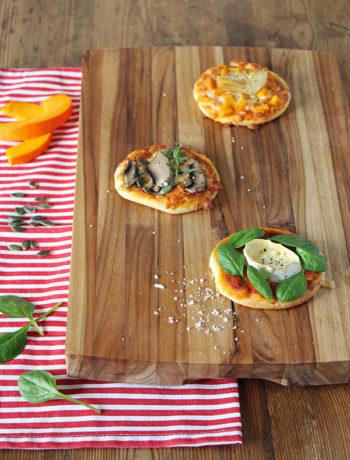 Rezept für Dreierlei Minipizzen - vegetarisch oder vegan für Silvester