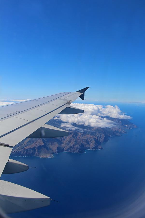 Blick auf La Gomera aus dem Flugzeug