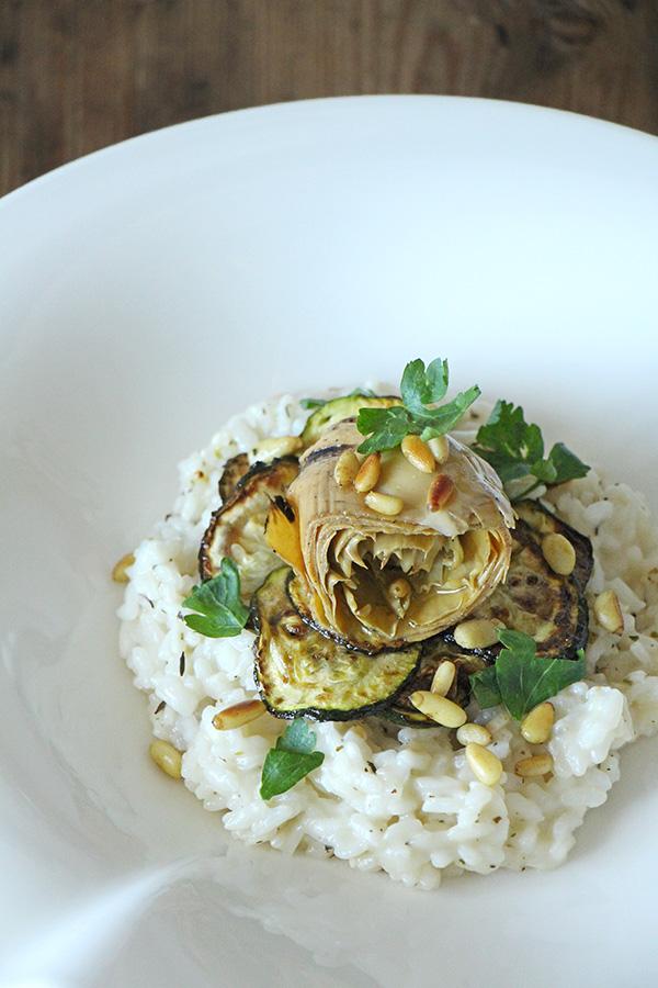 Antipasti Risotto mit Zucchini und Artischocken