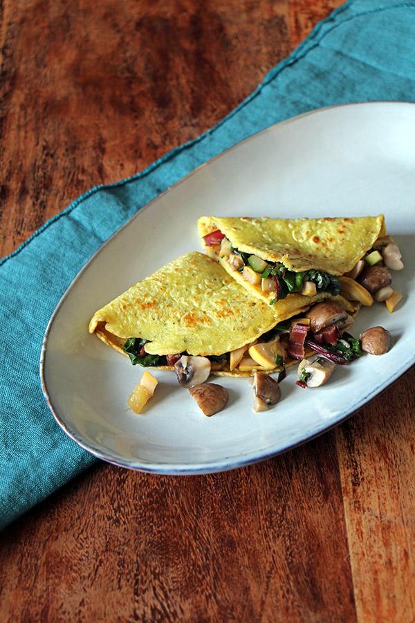 Gefüllte Pfannkuchen mit Gemüse, veganes Rezept