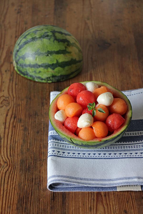 Melonen-Salat mit Mozzarella