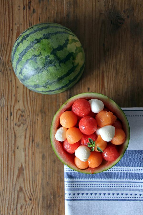 Melonensalat im Sommer
