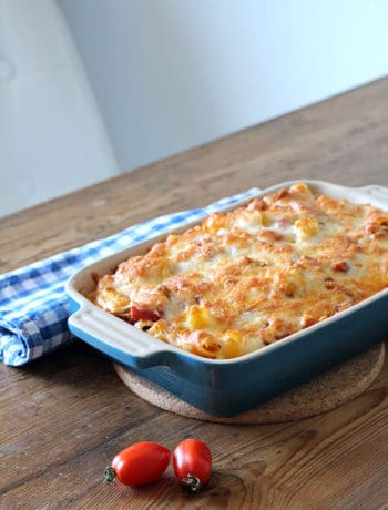 Rigatoni al forno - vegetarischer Nudelauflauf