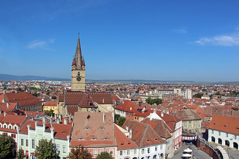 Piata Mica, Aussicht vom Ratsturm in Sibiu