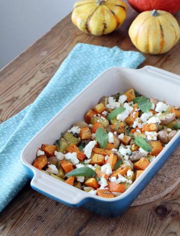 Rezept für Ofenkürbis mit Feta und Salbei, vegan oder vegetarisch