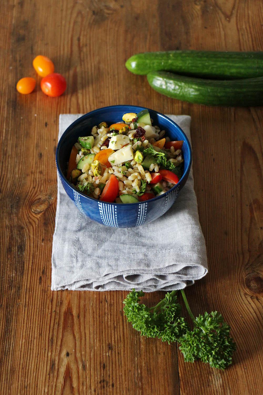 Weizensalat mit Sommergemüse, vegan oder vegetarisch